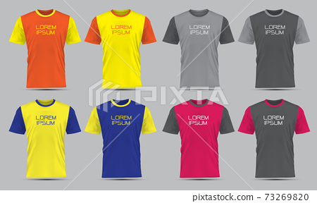 Realistic vector T-Shirt sport front view collection set with text on grey background illustration.  73269820