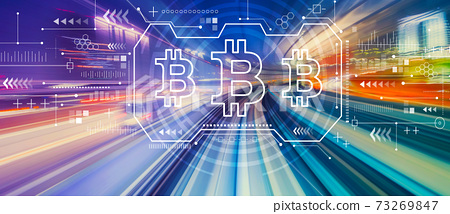 Bitcoin with high speed motion blur 73269847