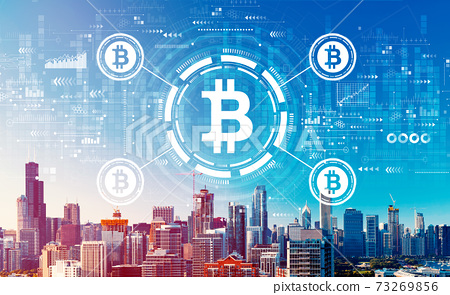 Bitcoin theme with downtown Chicago cityscape 73269856