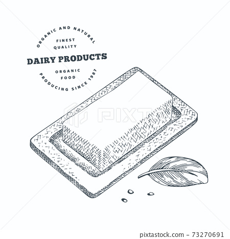 Hand drawn sketch style butter. Organic fresh food vector illustration isolated on white background. Retro dairy product illustration. Engraved style rustic picture. 73270691