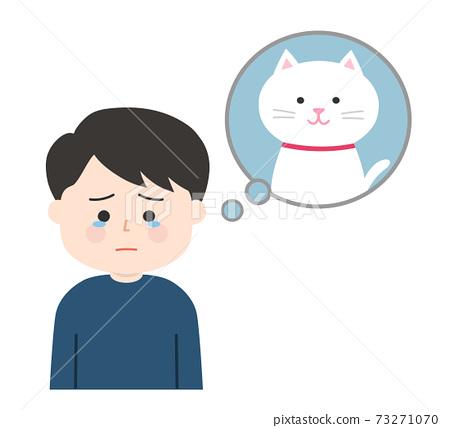 一個男人(貓)在記起寵物時感到難過 73271070