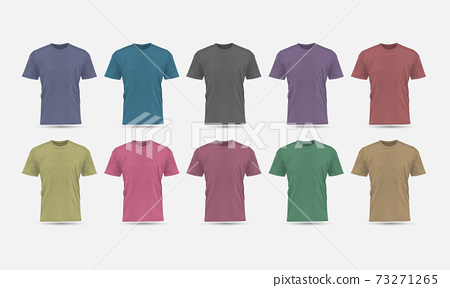 Realistic vector T-Shirt pastel color front view blank mockup collection set grey background illustration. 73271265