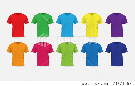 Realistic vector T-Shirt flesh color front view blank mockup collection set grey background illustration. 73271267