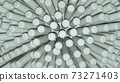 3D rendering of grey ball with not sharp sticks spikes around it, closeup. 73271403