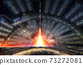 Missile launch at night. Glow of the sky with a technological halo around the flight. 73272081