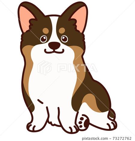簡單可愛的柯基犬圖片坐在主線上的貂毛顏色 73272762