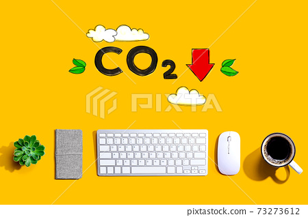 Reduce CO2 concept with a computer keyboard 73273612