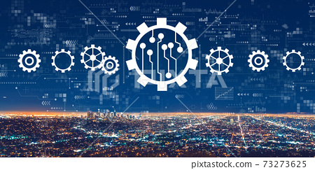 Automation concept with downtown Los Angeles 73273625