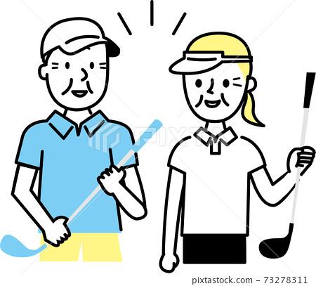 高爾夫中的高級男女 73278311
