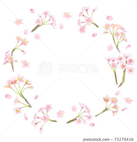 <框架材料>用水彩繪製的櫻花舞花圈 73278416