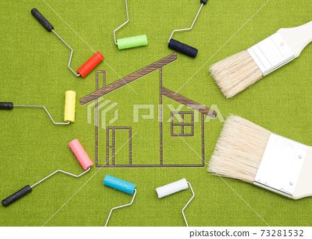 我家的外牆繪畫圖像繪畫作品圖像繪畫顏色選擇圖像影棚拍攝 73281532
