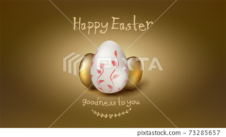 Banner for Easter holidays. Composition from 73285657