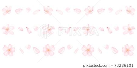 各種櫻花花瓣線水彩風格圖一套 73286101