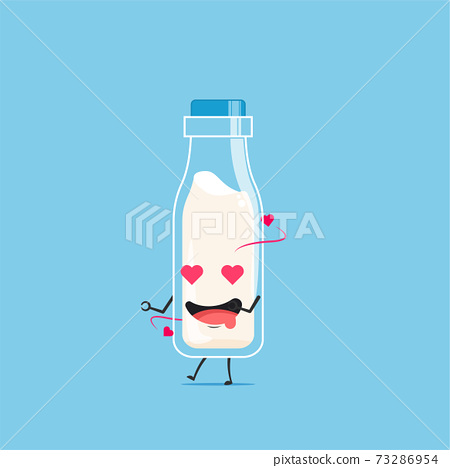 a bottle of white milk character falling in love isolated on cyan background. a bottle of white milk character emoticon illustration 73286954