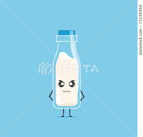 a bottle of white milk character isolated on cyan background. a bottle of white milk character emoticon illustration 73286968