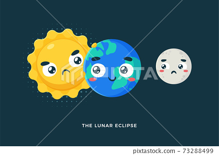 The Lunar Eclipse. Isolated Vector Illustration. 73288499
