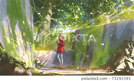 Red girl in abandoned park 73292393