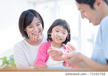一個和牙醫媽媽一起檢查的女孩 73293788