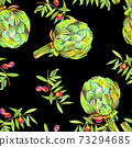 A seamless watercolor pattern of vibrant olive tree branches with olives and artichokes, a Mediterranean cuisine repeat print 73294685