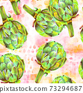 A seamless pattern of watercolor artichokes on a pink background 73294687
