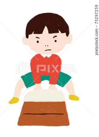 男孩玩跳躍的盒子 73297259