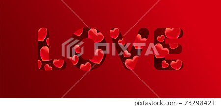 Love text with 3d red sweet heart shapes on a red background. Greeting card, banner 73298421