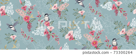 Vector illustration of a seamless floral pattern with cute birds in spring for Wedding, anniversary, birthday and party. Design for banner, poster, card, invitation and scrapbook 73300264