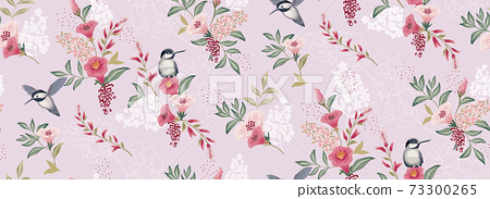 Vector illustration of a seamless floral pattern with cute birds in spring for Wedding, anniversary, birthday and party. Design for banner, poster, card, invitation and scrapbook  73300265