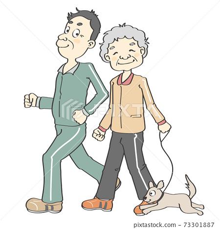 退休後一對老年夫婦(祖父和祖母)to狗 73301887