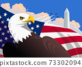 Symbolic American patriotic illustration with the bald eagle, the U.S. flag, The Washington Monument 73302094