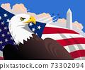 Symbolic American patriotic illustration with the bald eagle, the U.S. flag, The Washington Monument 73302094