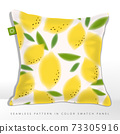 Vector Summer Fresh Lemon Seamless Graphic or Fabric Pattern	 73305916