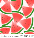 Vector Watercolor or Blurred Effect Watermelon Seamless Graphic or Fabric Pattern	 73305917