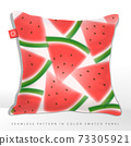 Vector Watercolor or Blurred Effect Watermelon Seamless Graphic or Fabric Pattern 73305921