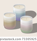 Vector Scented Candle in Traditional Asian or Japanese Ceramic Tea Cup. Gradient Colors. 73305925