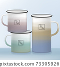 Vector Camping or Outdoor Tin Cup or Mug with Multi Pastel Colors Gradient Overlaying Print Design	 73305926