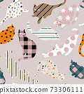 Vector Cat Silhouette with Multi Patterns for Fabric Print, Packaging and Wrapping Paper. 73306111