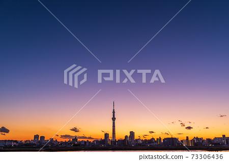 晚上天空和東京天空樹 73306436