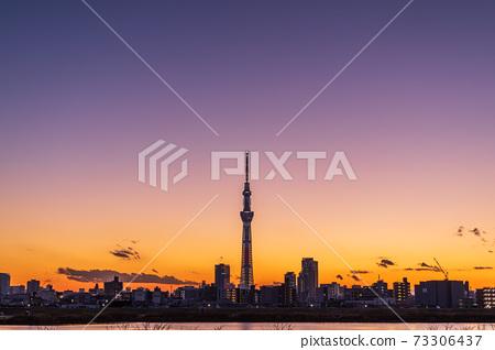 晚上天空和東京天空樹 73306437