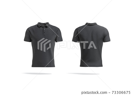 Blank black polo shirt mock up, front and back view 73306675