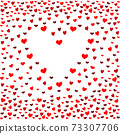 Seamless patterns with red hearts. Seamless background with hearts. Valentine's Day. Gift wrap, print, cloth, cute background for a card. 73307706