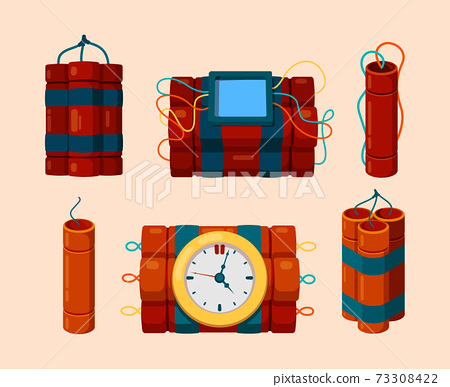 Dynamite. Dangerous symbols red dynamite sticks with timer for bomb explosion vector cartoon illustrations 73308422