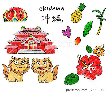 Okinawa illustration summary of cute crayon touch 73309470