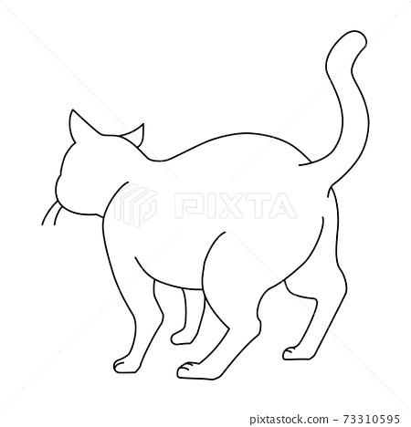 後視圖的白貓 73310595