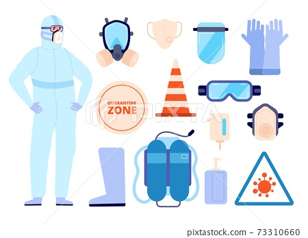 Medical safety equipment. Man in protect clothes, personal protective elements icons. Person wear boots face mask utter vector infographics 73310660