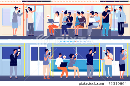 People in public transport. Crowd in train, person using gadgets in subway bus. City transportation, no utter social distance vector concept 73310664