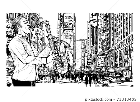 Jazz musician playing the saxophone in New York 73313405