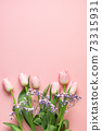 Spring banner of pink tulips on blue background. Floral pattern. 73315931