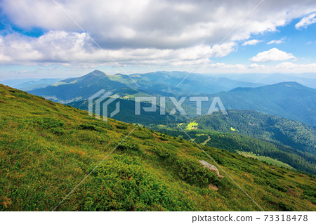 hoverla peak of carpathian black ridge. beautiful summer landscape at noon. clouds on the sky above the valley. view from petros mountain slope covered in grass 73318478