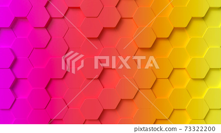 3d hexagons shape multicolor gradient, with purple, red, orange and yellow colors. 3d render abstract illustration. 73322200